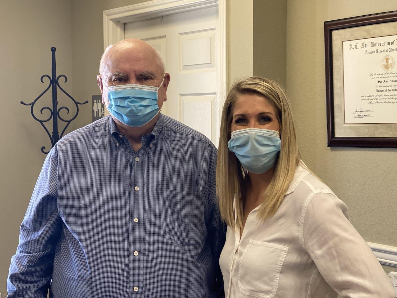 Bill F with Dr. Kelsi Mangrem Holland Hearing
